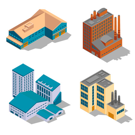construction plant: Isometric factory and industrial buildings set. Plant business, architecture construction, power structure, vector illustration Illustration
