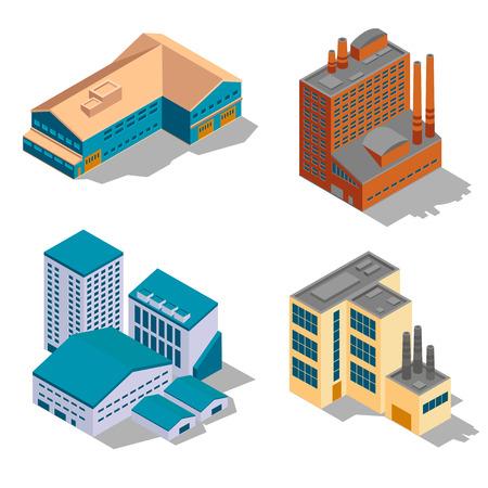 pflanzen: Isometrische Fabrik und Industriegebäuden gesetzt. Werksgeschäft, Baugewerbe, Netzstruktur, Vektor-Illustration Illustration