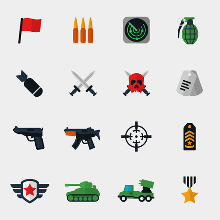 Military and war icons flat set. Bomb and gun, medallion and tank, award and sword, radar and epaulets. Vector illustration