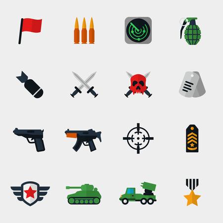 wojenne: Wojskowe i wojenne ikony płaskim set. Bomba i pistolet, medalion i zbiornik, nagrody i miecz, radar i pagony. ilustracji wektorowych