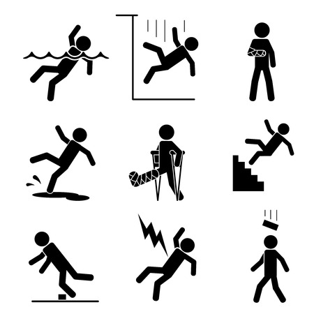 Safety and accident icons set. Trauma and brick on head, crutch and cling, slip and puddle, gypsum and fracture. Vector illustration
