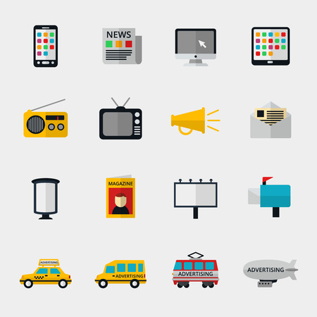 Flat media icons set. Marketing web, email television and radio internet, media content, newspaper and magazine. Vector illustration Illustration