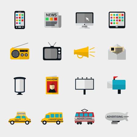 Iconos de los medios establecidos planas. Web Marketing, la televisión y la radio de correo electrónico de Internet, contenido multimedia, periódicos y revistas. Ilustración vectorial