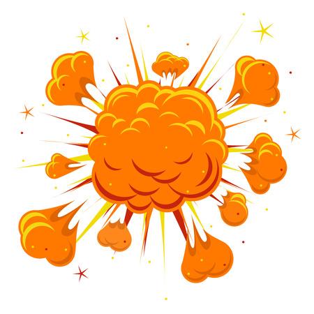 漫画本爆発。爆発ブーム、オレンジ色の雲、煙、ベクトル図を爆発