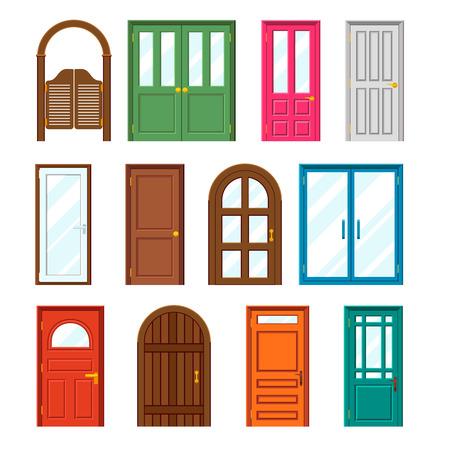 puertas de madera: Conjunto de edificios puertas delanteras en estilo diseño plano. Entrada exterior y, construcción puerta de madera. Ilustración vectorial Vectores