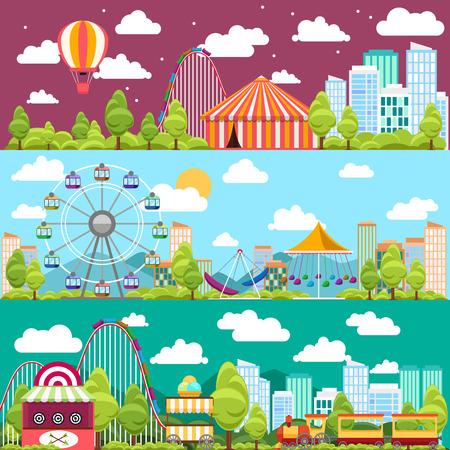 carnival: Diseño plano banners ciudad conceptual con carruseles. Toboganes y columpios, ferris atracción rueda, ilustración vectorial