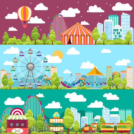 amusement: Flat design conceptual city banners with carousels. Slides and swings, ferris wheel attraction, vector illustration Illustration