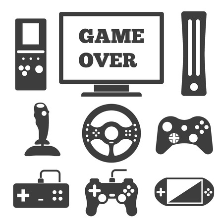 controller: Video game entertaining icons set. Play and joystick, controller and computer, console and gamepad. Vector illustration
