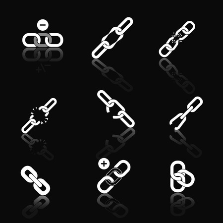 cohesion: Icons of link for web and application set. Business seo, sign and element chain, connection and security, vector illustration