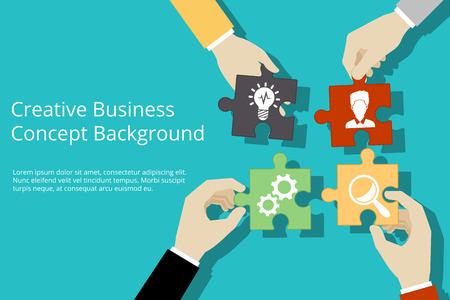 cooperacion: Fondo creativo concepto de negocio. Solución y el éxito, la estrategia y rompecabezas de diseño, ilustración vectorial