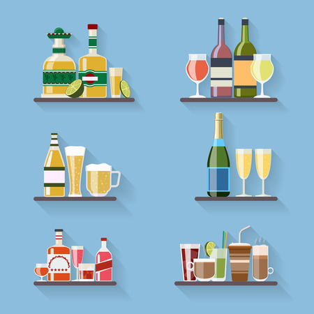 liquors: Booze or drinks flat icons on tray at bar. Beverage and liquor, design, wine and juice, champagne bottle and beer. Vector illustration