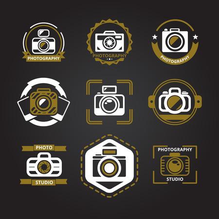 Vector logo's of pictogrammen voor fotografen stellen. Camera en foto, fotografie technologie, foto studio embleem, vector illustratie Stock Illustratie
