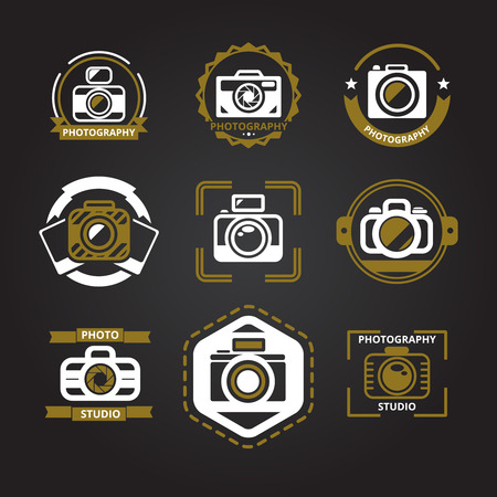 photography logo: Vector logos or icons for photographers set. Camera and photo, photography technology, foto studio emblem, vector illustration