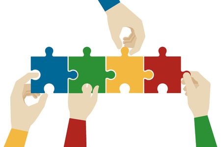 Hands assembling jigsaw puzzle pieces. Teamwork connection, idea connect, solve and success, vector illustration Illustration