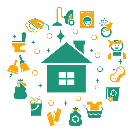 sponges: Household cleaning icons set. Sponge and housework, glove and bucket, wash and housekeeping, vector illustration