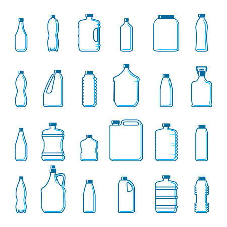 botellas de plastico: Botellas de plástico vectorial en estilo de esquema. Envase y objeto, beber agua, diseño en blanco Infografía