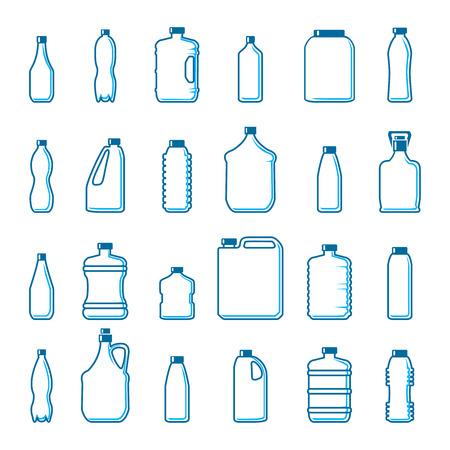 Bottiglie di plastica di vettore in stile contorno. Contenitore e oggetto, bere acqua, disegno in bianco ilustration Vettoriali