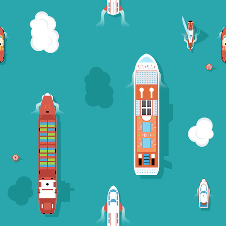ships: Top view sea ships seamless background. Water and yacht, boat and transport, cruise travel. Vector illustration
