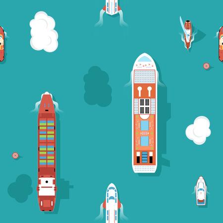 barche: Top vista mare navi Seamless background. Acqua e yacht, barca e il trasporto, viaggio in crociera. Illustrazione vettoriale
