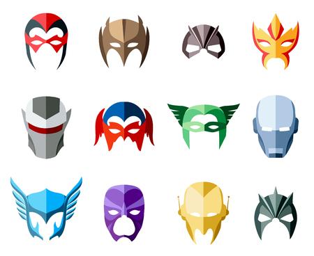 volti: Vector super-eroe per maschere di carattere faccia in stile appartamento. Maschera Illustrazione, eroico e salvatore