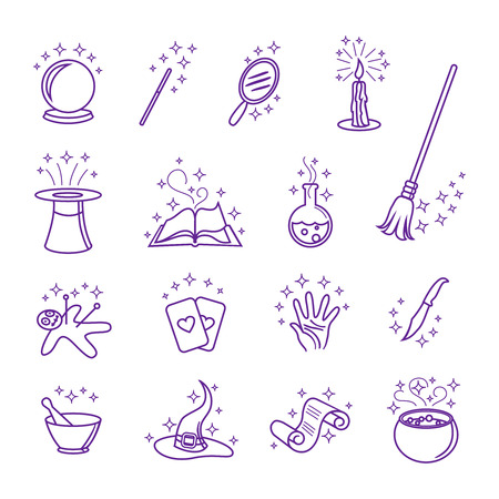magic potion: Vector magic icons in line style set. Hat and wand, magician and circus, magical card illustration Illustration