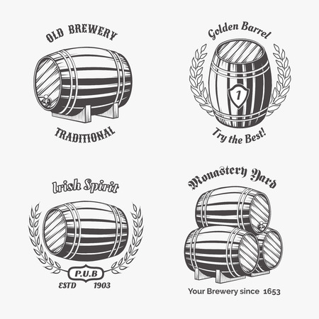 wooden barrel: Set of vintage badge for beer house. Keg and drink, wooden cask, container wine, vector illustration