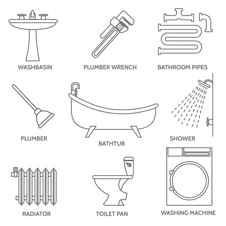 kanalizacja: Vector pipeline plumbing icons in thin line style. Water and pipe, faucet tube, bathroom and sink illustration