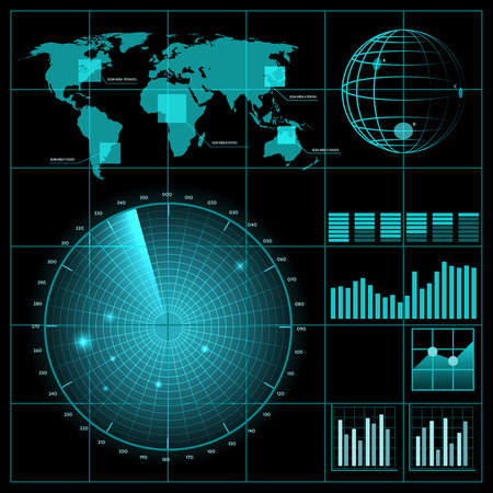 Radar screen with world map. Military technology, system equipment, detect and monitor, vector illustration