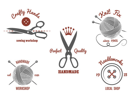 knit: Handmade logos set. Knit wool, needle and yarn, ball and knitwear, scissors and needlework design, vector illustration