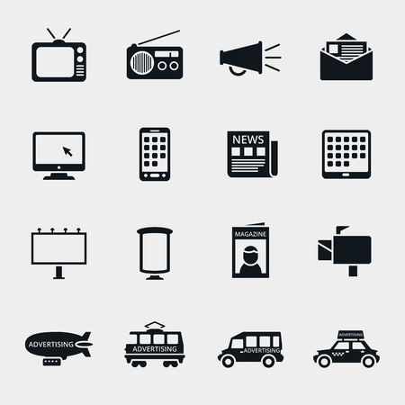 Silueta medios iconos publicitarios de vector. Marketing y televisión, la radio e Internet, contenido multimedia, ilustración mercado multimedia