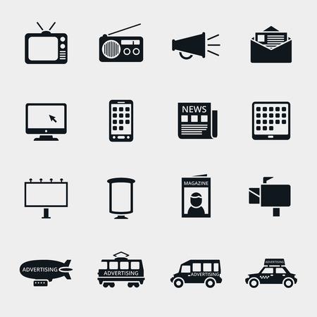 Vettore di pubblicità dei media silhouette Set di icone. Marketing e televisione, radio e internet, contenuti multimediali, illustrazione mercato multimediale