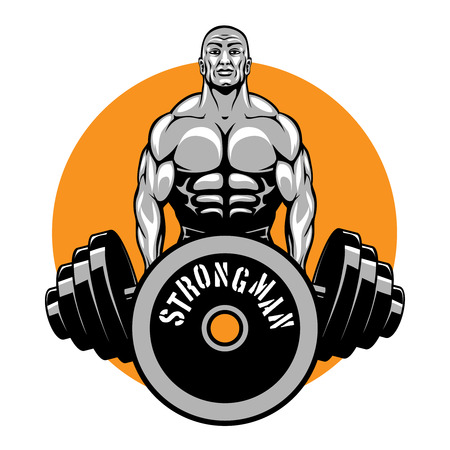 bodybuilding: T-shirt vector design for bodybuilders and fitness club. Logo or emblem, sport power, strength and healthy illustration