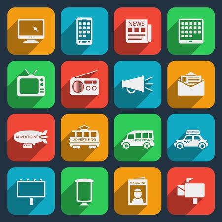 Satz von Silhouette media icons. Radio und Internet, Medieninhalte, Multimedia und Lautsprecher. Vektor-Illustration Illustration