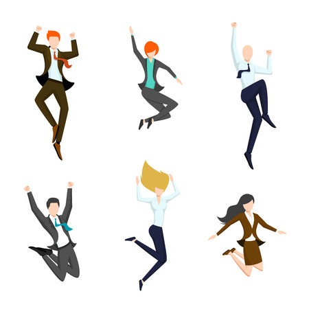 achieve: Jumping business people in the air. Happy and successful business icons.  Joy and achievement, person woman and man, vector illustration