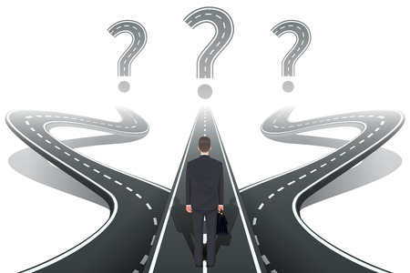 three pointer: Businessman in front of question with roads. Crossroad and dilemma, choose three, choice and intersection, vector illustration