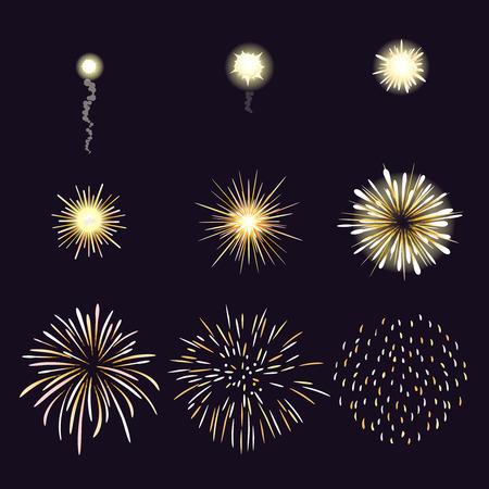 Animatie van vuurwerk effect in cartoon komische stijl. Festival en evenement, vieren en partij. Vector illustratie