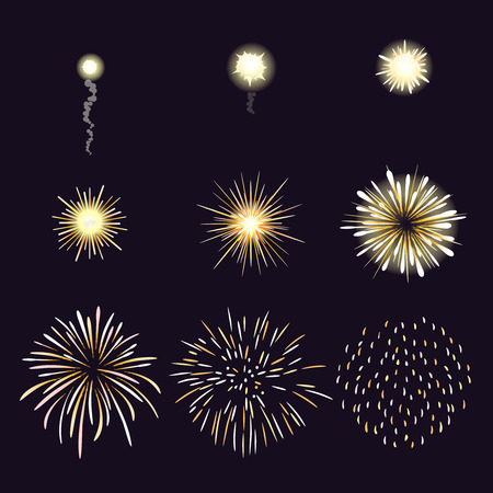 fire show: Animation of firework effect in cartoon comic style. Festival and event, celebrate and party. Vector illustration