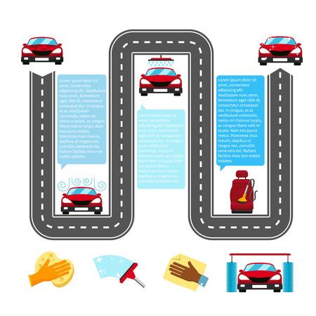 lavar: Inforraphics de lavado de coches. Agua y del autom�vil, la industria Autowash, proceso y detalle, transporte ducha limpia. Ilustraci�n vectorial
