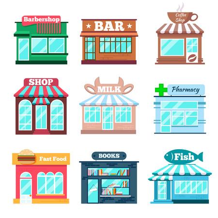 fachada: Tienda y tienda edificios iconos planos establecidos. Comida rápida, pescadería, el libro y la farmacia, la leche y el bar, café y barbería. Ilustración vectorial