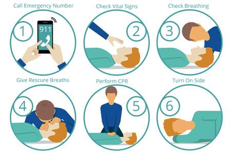 persona respirando: Emergencia procedimiento cpr primeros auxilios. Salud y m�dico, de vida y de emergencia, reanimaci�n y rescate. Ilustraci�n vectorial Vectores