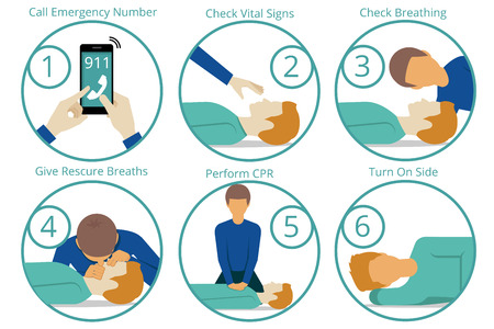 at first: Emergency first aid cpr procedure. Health and medical, life and emergency,  reanimation and rescue. Vector illustration