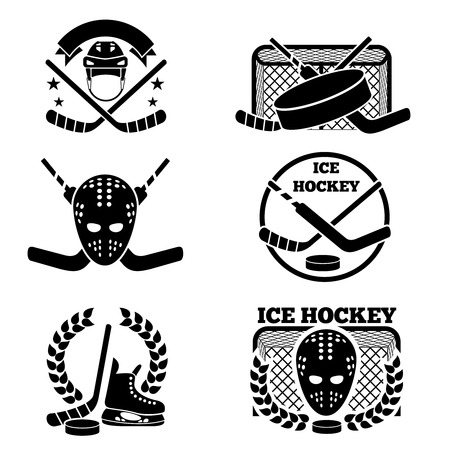 team game: Ice hockey emblem and  set. Sport and game, team emblem, vector illustration Illustration
