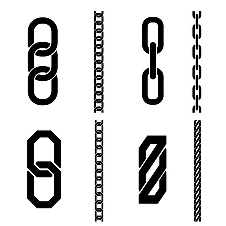 chain links: Chain parts vector icons and patterns. Link connection, strength element, connect equipment. Vector illustration