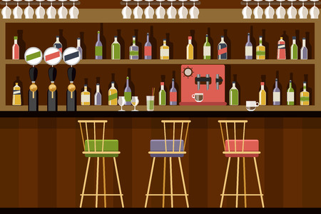 Bar interior in flat style design. Beverage alcohol, beer and club, Vector illustration