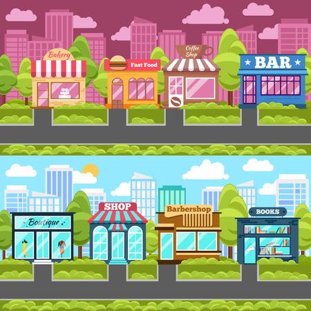 tiendas de comida: Comercios y tiendas de la calle de la ciudad. Comida rápida, libro y el café bar, peluquería y panadería. Ilustración vectorial Vectores
