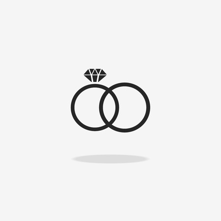 jewelery: Wedding rings icon. Engagement and ceremony, diamond and jewelery, together pair, vector illustration