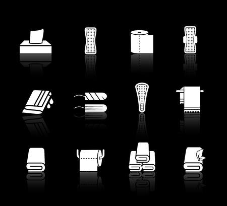 limpieza: Vector conjunto de toallas, servilletas y productos de higiene femenina. Sanitaria para la menstruación, la protección de la mujer o niña, ilustración tampón médica