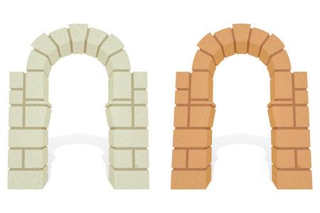 돌 건축 아이소 메트릭 3D 벡터 아치. 외부와 돌, 입구 게이트, 건축 문 열 그림