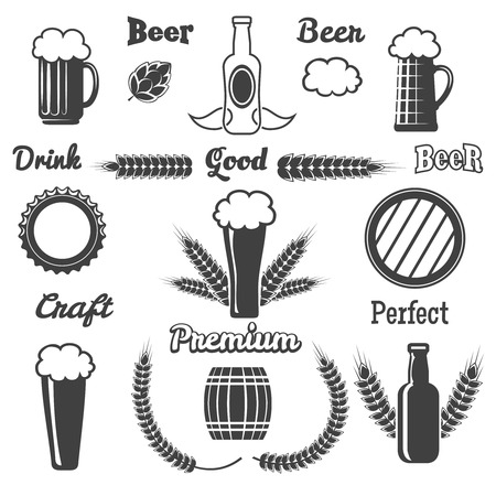 Vintage craft beer design elements. Hop and beverage, brewery emblem, bar and bottle, vector illustration