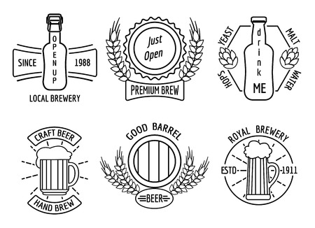 Line logo templates for beer house and craft brewery. Beverage emblem or logotype, restaurant and bar, bottle lager, pub and ale, vector illustration
